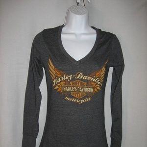 Harley-Davidson Long Sleeve V-Neck Tee Shirt